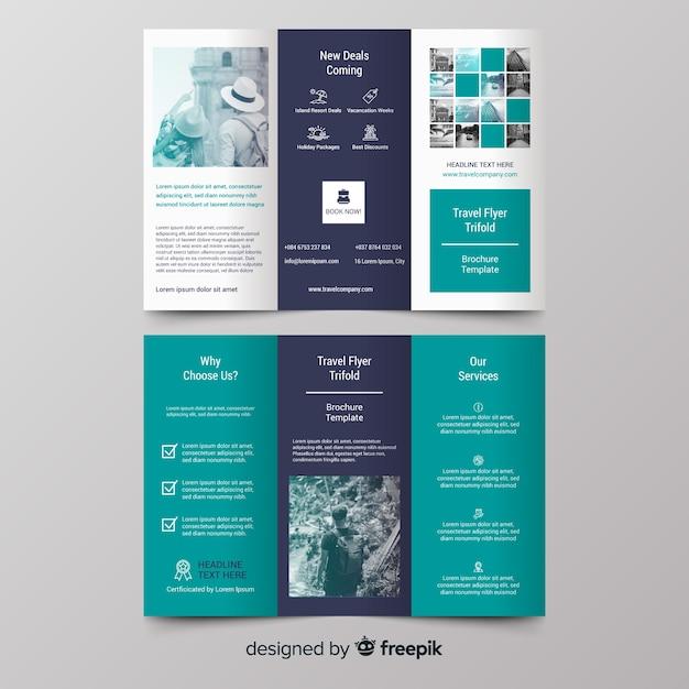Brochura de viagem fotográfica com três dobras Vetor grátis