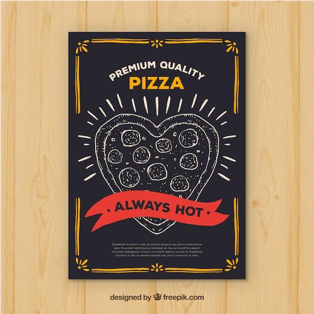 Brochura em pizza em forma de coração vintage Vetor grátis