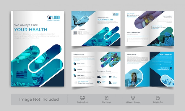 Brochura médica de 8 páginas Vetor Premium