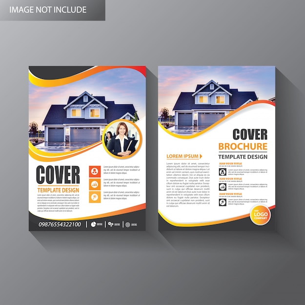 Brochura modelo layout capa relatório anual Vetor Premium