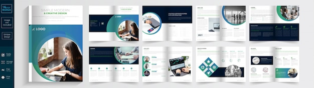 Brochura moderna e criativa simples. Vetor Premium