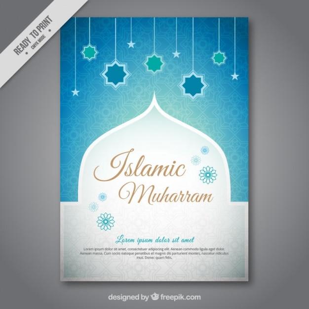 brochura Muharram com azul estrelas decoração Vetor grátis
