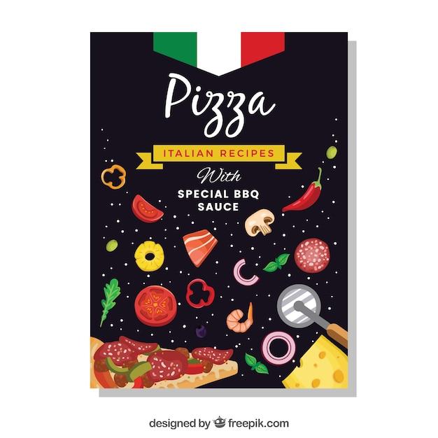 Brochura para pizza com ingredientes Vetor grátis