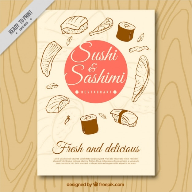 Brochura para sushi e sashimi esboços Vetor Premium