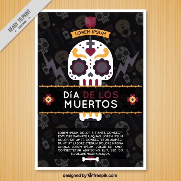 Brochura plano com uma caveira mexicana para o dia dos mortos Vetor grátis