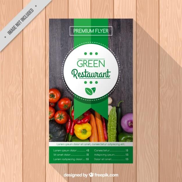 Brochura restaurante com vegetais Vetor grátis
