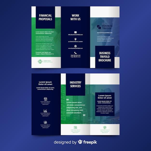 Brochura trifásica abstrata Vetor grátis