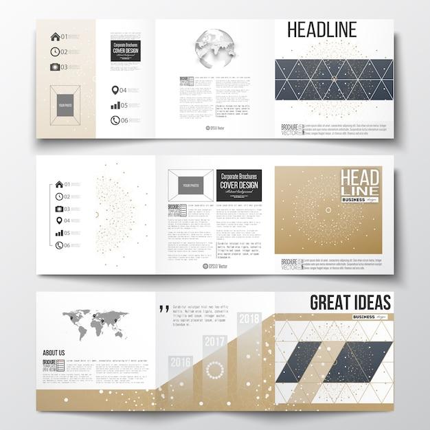 Brochuras com dobra tripla, modelos de design quadrado Vetor Premium