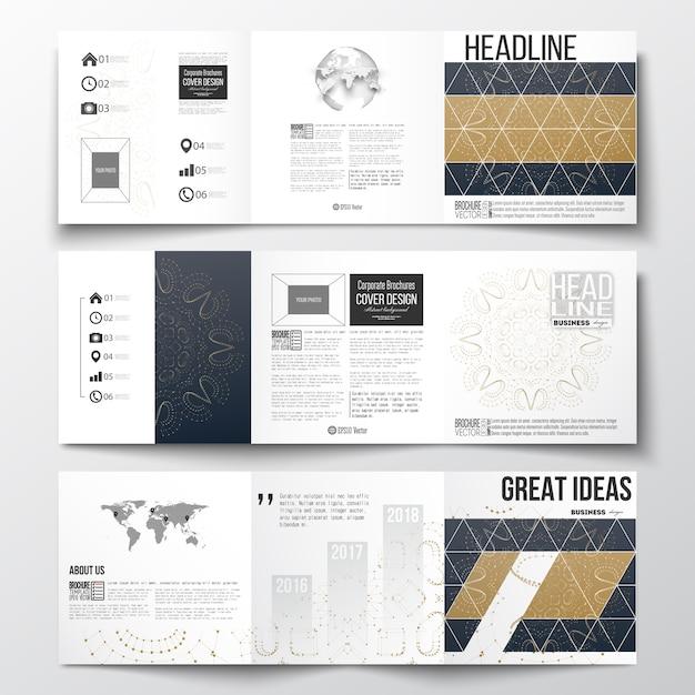 Brochuras com dobra tripla, modelos de design quadrado. Vetor Premium