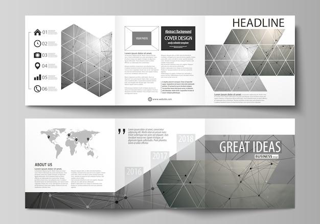 Brochuras de design quadrado tri fold. Vetor Premium