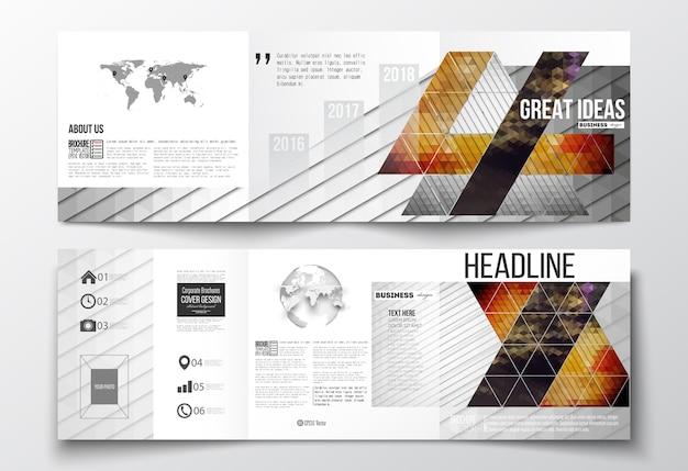 Brochuras de três dobras Vetor Premium