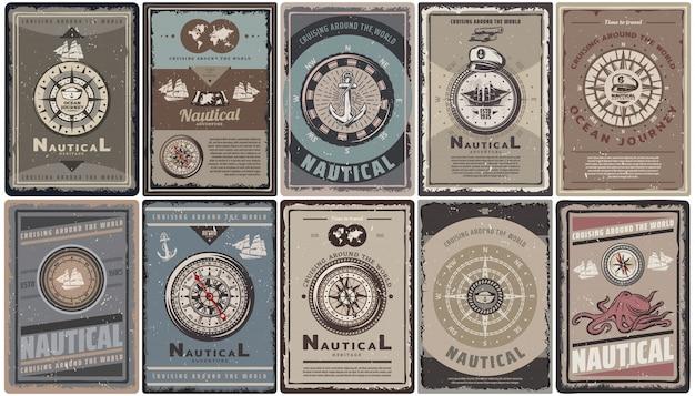 Brochuras náuticas coloridas vintage com texto diferente bússolas de navegação âncoras navios mapa capitão chapéu polvo isolado Vetor grátis