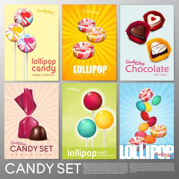 Brochuras realistas de confeitaria colorida com doces de chocolate Vetor grátis