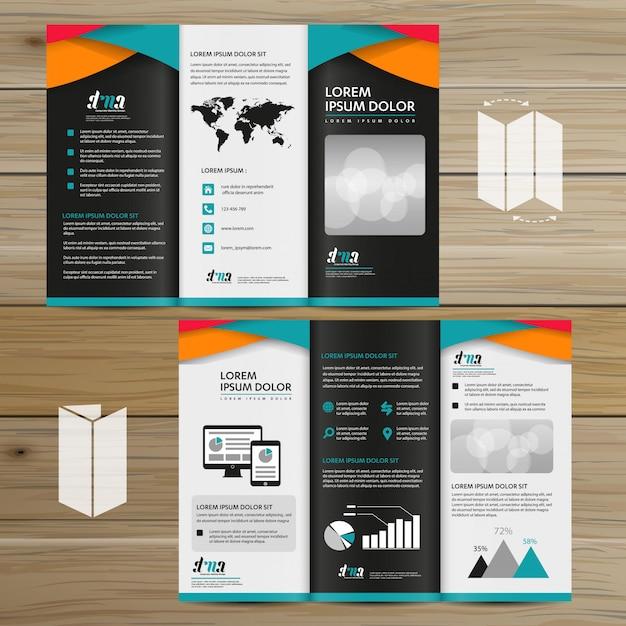 Brochure business tri fold design de vetor de folheto flyer Vetor Premium