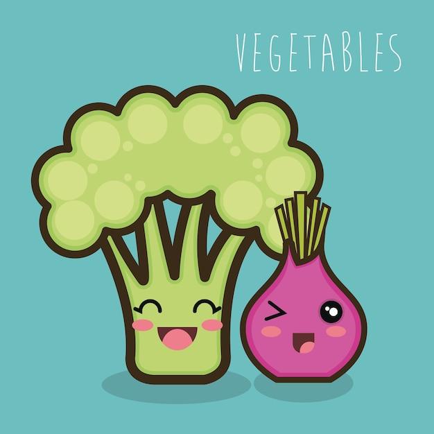 brócolis e cebola dos desenhos animados isolado baixar vetores premium