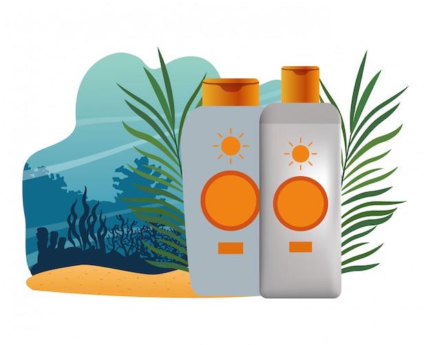 Bronzeadores solares e produtos cosméticos Vetor Premium