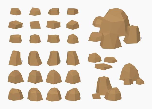 Brown 3d lowpoly pedras e pedras isométricas Vetor Premium