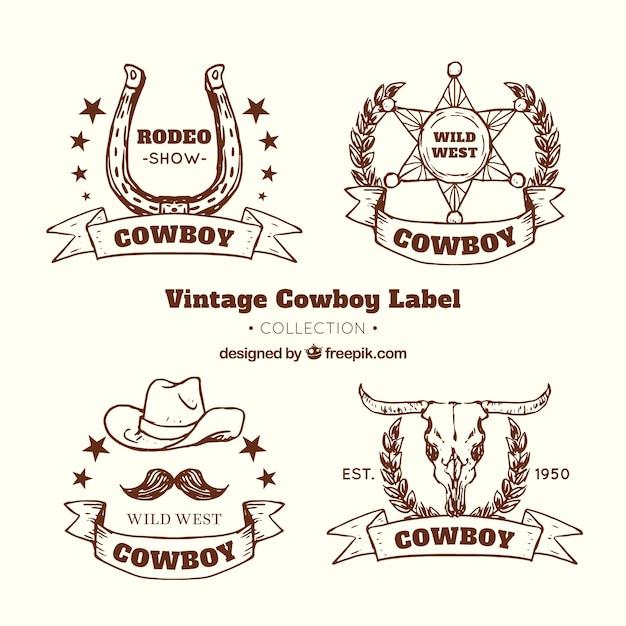Brown cowboy label collection Vetor grátis