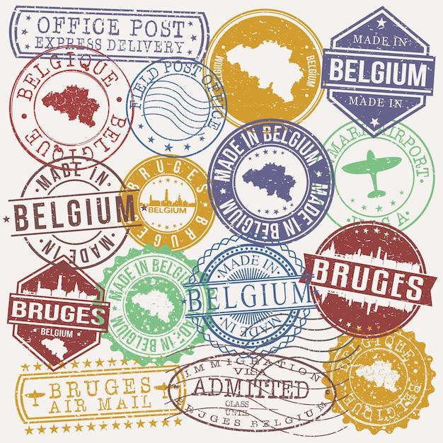 Bruges belgium conjunto de viagens e negócios selos Vetor Premium
