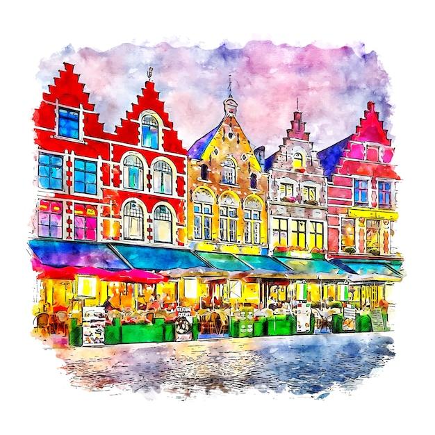 Brugge belgium esboço em aquarela desenhado à mão Vetor Premium