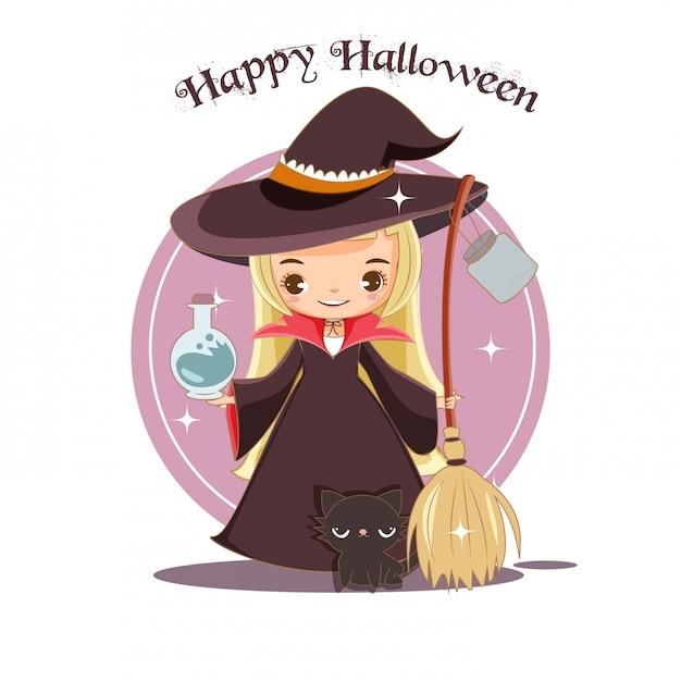 Bruxa bonita e gato preto para o conceito de halloween Vetor Premium