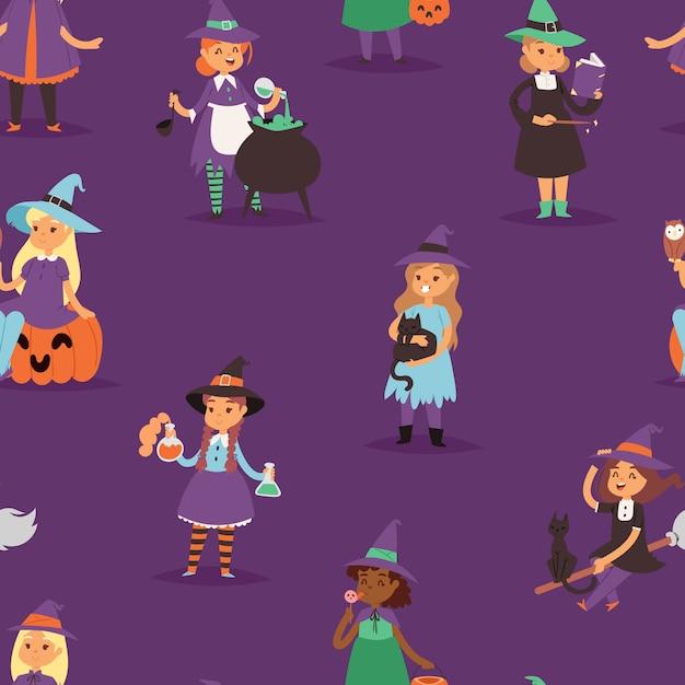 Bruxa bonita halloween garotinha harridan com vassoura com cobre cartoon mágica jovem bruxa mulher vestido personagem traje chapéu bruxaria ilustração sem costura de fundo Vetor Premium