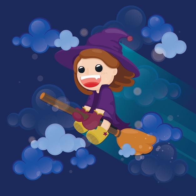 Bruxa bonita voando na vassoura mágica com céu nublado Vetor Premium