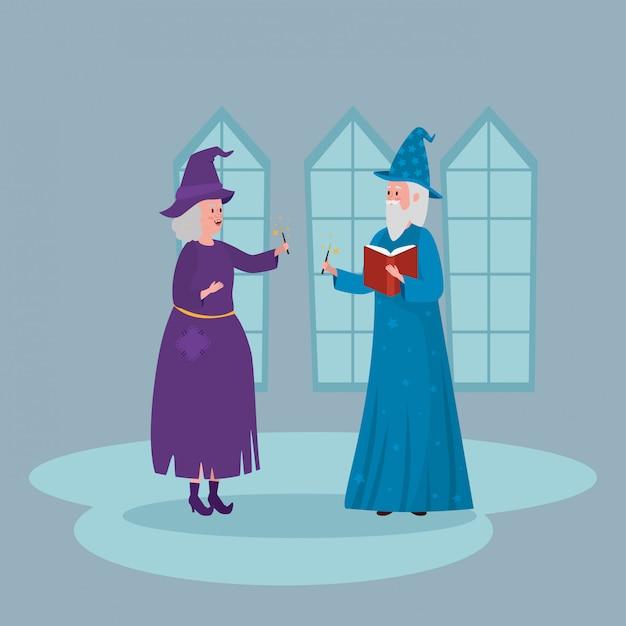 Bruxa com assistente no castelo Vetor grátis