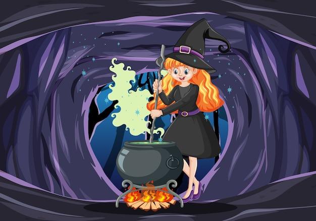 Bruxa com estilo de desenho animado de maconha de magia negra em fundo escuro de caverna Vetor grátis