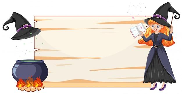 Bruxa com pote de magia negra e cabo de vassoura e estilo de desenho animado de papel em branco banner isolado no fundo branco Vetor grátis