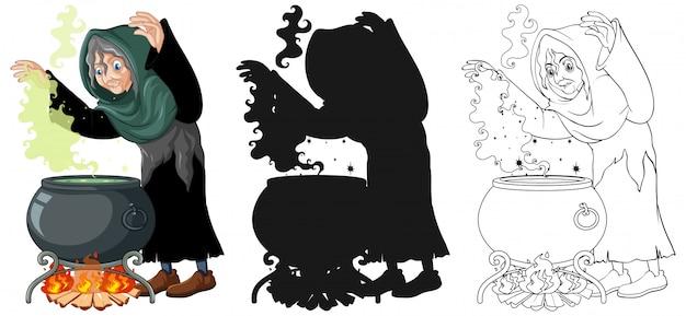 Bruxa com pote de magia negra na cor e contorno e silhueta cartoon personagem isolada no fundo branco Vetor grátis