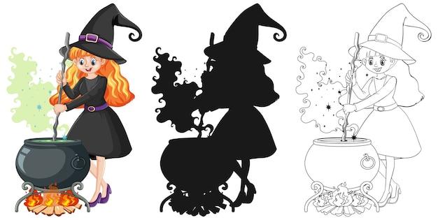Bruxa com pote mágico em cores e contornos e silhueta do personagem de desenho animado isolado no fundo branco Vetor grátis