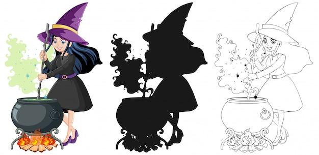 Bruxa com pote mágico na cor e contorno e silhueta cartoon personagem isolada no fundo branco Vetor grátis
