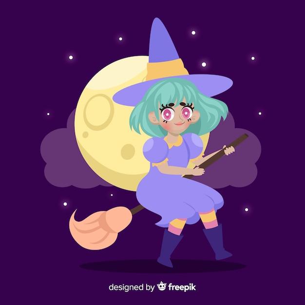 Bruxa com vassoura em uma noite de lua cheia Vetor grátis