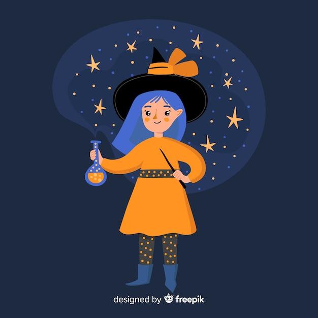 Bruxa de halloween bonito à noite Vetor grátis