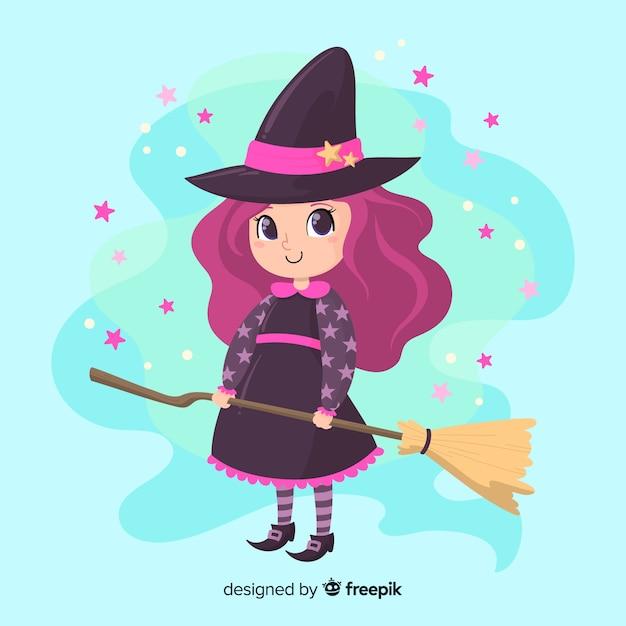 Bruxa de halloween bonito com brilhos e cabelo violeta Vetor grátis