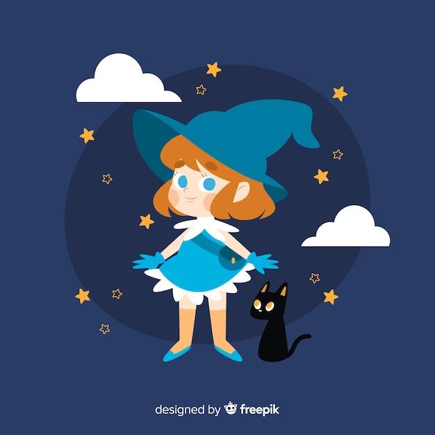 Bruxa de halloween bonito com gato preto Vetor grátis