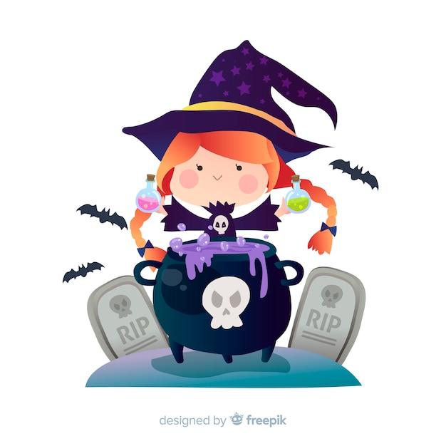 Bruxa de halloween bonito com pote de bruxa Vetor grátis