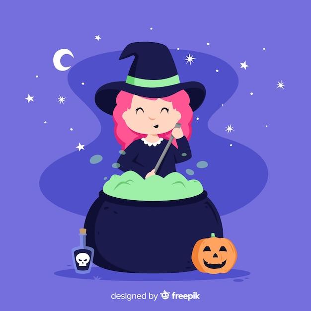 Bruxa de halloween bonito com uma panela Vetor grátis
