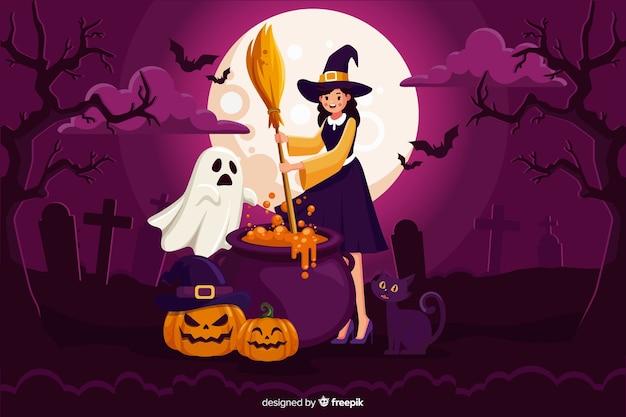 Bruxa de halloween bonito com vassoura Vetor grátis