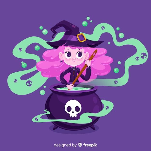 Bruxa de halloween bonito fazendo feitiço Vetor grátis