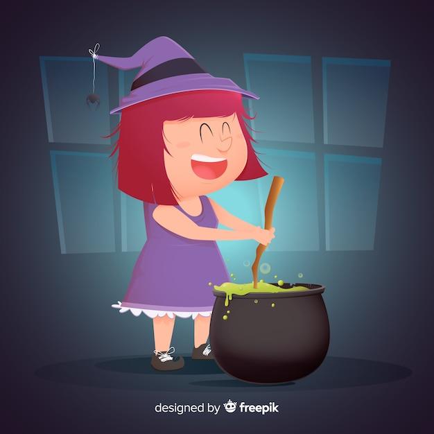 Bruxa de halloween bonito fazendo um feitiço Vetor grátis
