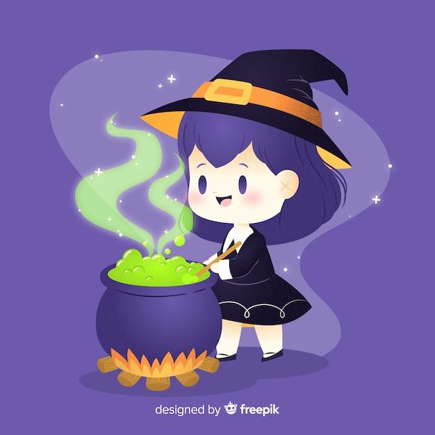 Bruxa de halloween bonito mexendo na panela Vetor grátis