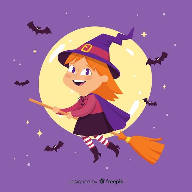 Bruxa de halloween bonito na vassoura com morcegos Vetor grátis