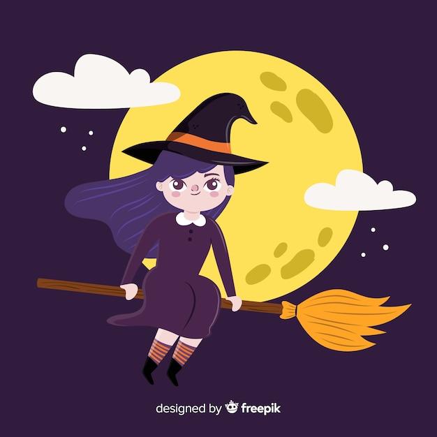 Bruxa de halloween bonito Vetor grátis