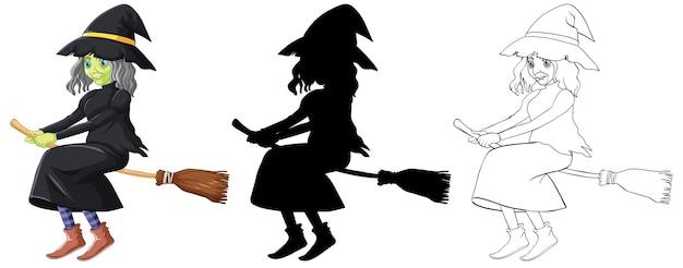 Bruxa em cores e contornos e silhueta do personagem de desenho animado isolado no branco Vetor grátis