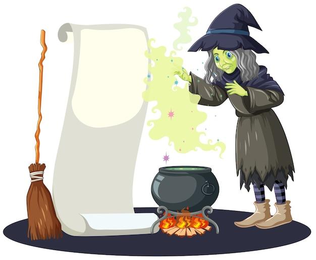 Bruxa feia com pote de magia negra, cabo de vassoura e papel de banner em branco no estilo cartoon, isolado no fundo branco Vetor grátis
