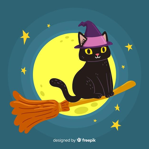 Bruxa gato e vassoura na lua cheia Vetor grátis