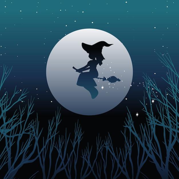Bruxa ou mago cavalgando vassoura em silhueta no céu isolado no céu Vetor grátis