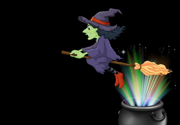 Bruxa voando na vassoura mágica Vetor grátis